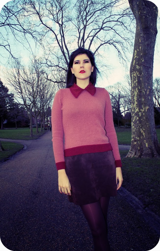 Beaded collar sweater: a beautiful handmade gift made for me.